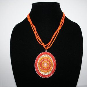 Beautiful orange and gold necklace adjustable